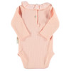 Ribbed Bodysuit Frill Neck, Pale Pink
