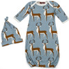Blue Buck Newborn Gown & Hat Set