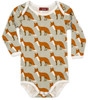 Organic Cotton Long Sleeve Bodysuit, Orange Fox
