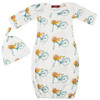 Bamboo Newborn Gown & Hat Set, Floral Bicycle