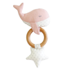 Whale Teether Rattle, Pink