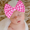 Newborn Bow Hat, Hot Pink Gingham