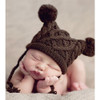Cable Pom Pom Hat, Brown