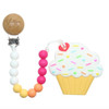 Teether with Clip. Raspberry Cupcake