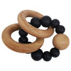 Wood & Silicone Ring Teether, Black