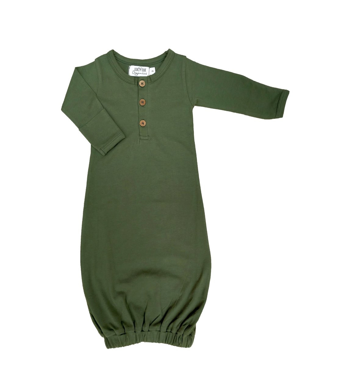 Organic Baby Snuggle Gown Olive Green Spearmint Ventures Llc