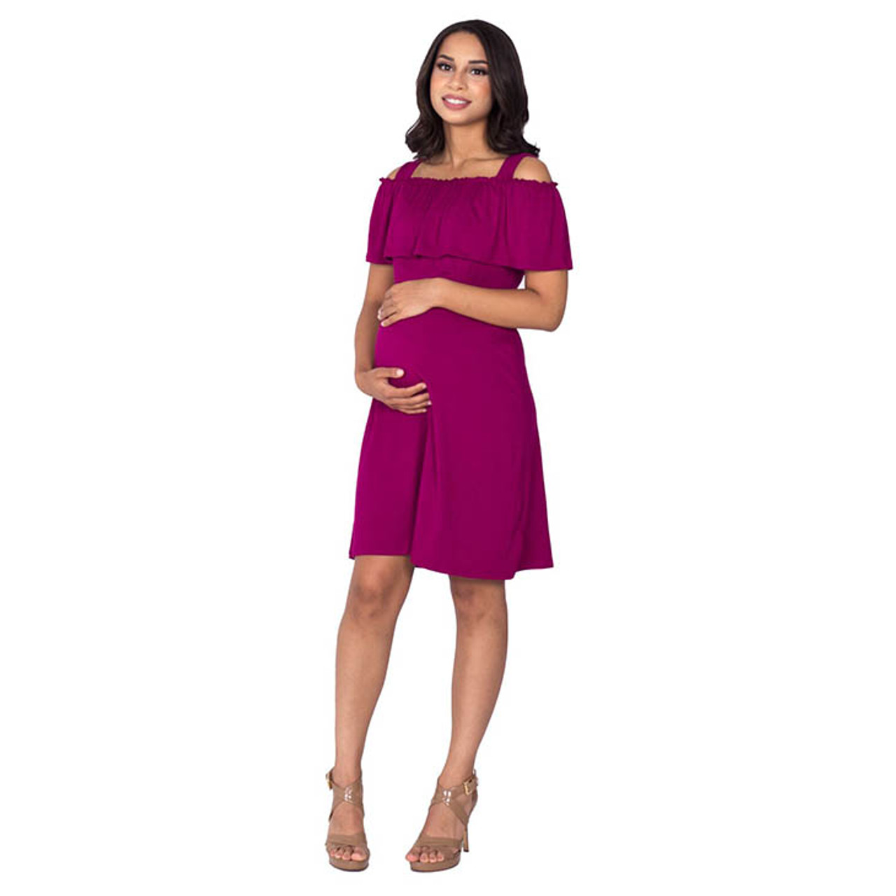 a4d7eed1c752c Maternity/Nursing Off the Shoulder Dress, Magenta - Spearmint Ventures, LLC