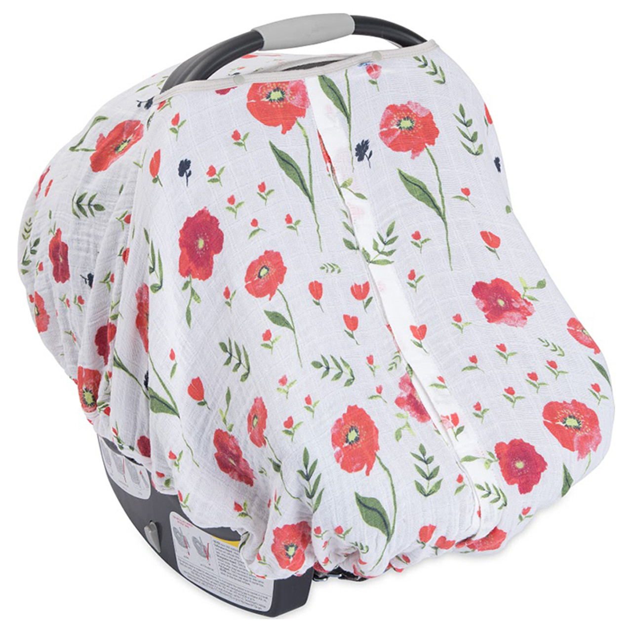 sc 1 st  SpearmintLOVE & Cotton Muslin Car Seat Canopy Summer Poppy - Spearmint Ventures LLC