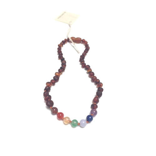 Raw Cognac Amber Teething Necklace, Rainbow
