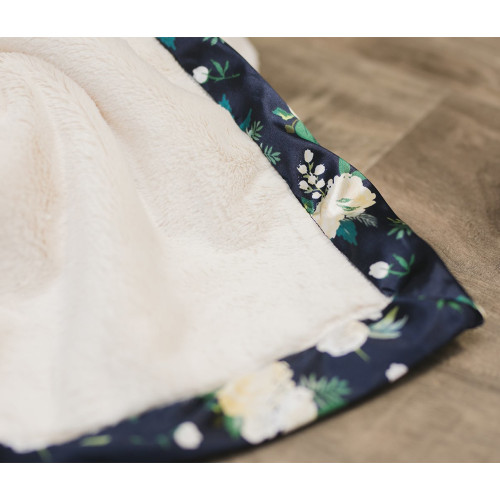 Lush Blanket Satin Border, Ivory Rose Blossom