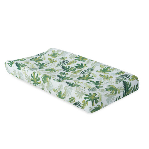 Muslin Changing Pad Cover, Tropical Leaf