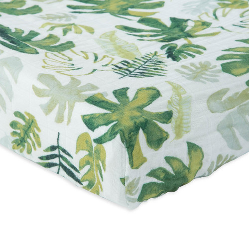 Muslin Fitted Crib Sheet, Tropical Leaf