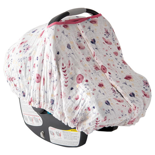 Cotton Muslin Car Seat Canopy, Fairy Garden