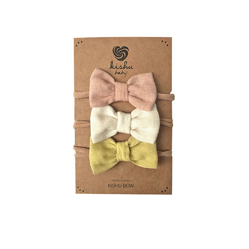 Bow Set, Peach + Ivory + Yellow