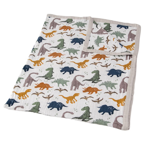 XL Muslin Quilt, Dino Friends