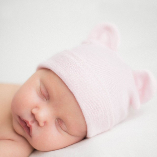 Newborn Bear Hat, Pink