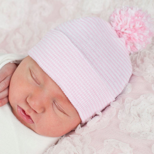 Newborn Pom Pom Hat, Pink Stripes