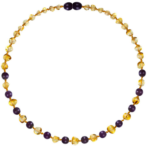 Amber Teething Necklace, Gems Honey & Amethyst