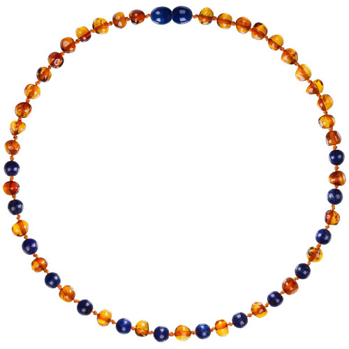 Amber Teething Necklace, Gems Cognac & Lapis Lazuli