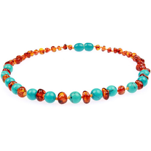 Amber Teething Necklace, Gems Cognac & Turquoise