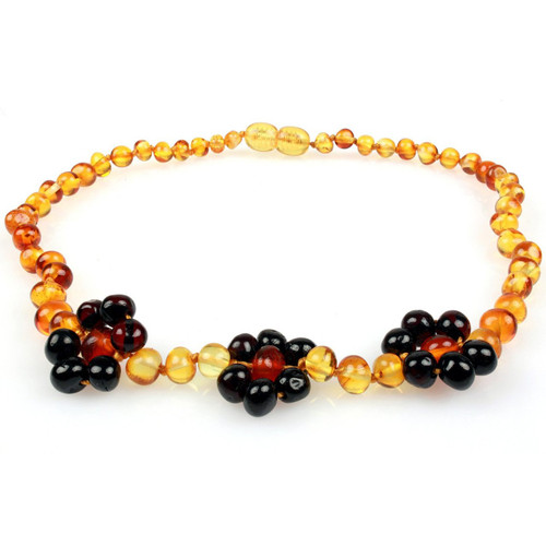 Amber Teething Necklace, Flower Honey & Cherry