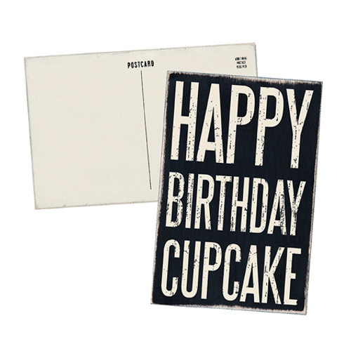 Happy Birthday Cupcake Wooden Postcard