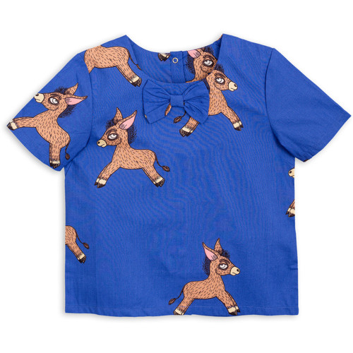 Mini Rodini Donkey Woven Short Sleeve Blouse, Blue