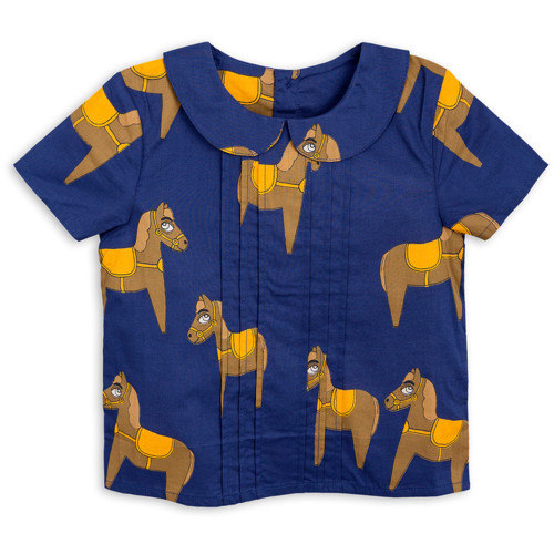 Mini Rodini Horse Woven Pleat Blouse, Navy
