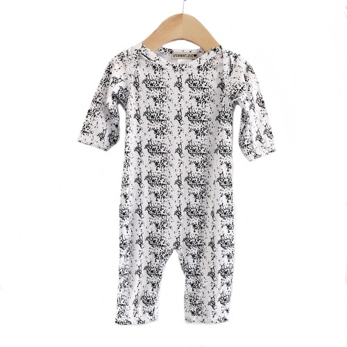Long Sleeve Romper, Snow Leopard