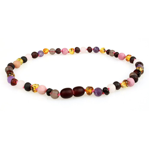 Amber Teething Necklace, Smoky/Rose Quartz, Amethyst