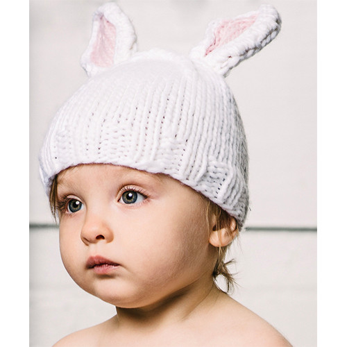 Bamboo Bunny Hat, White & Pink