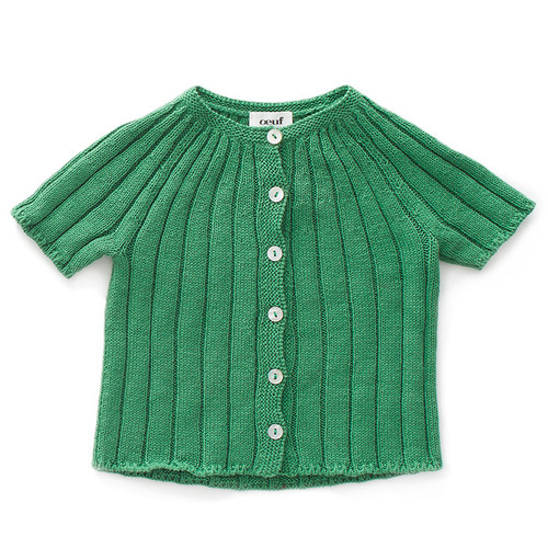 Oeuf SS Ribbed Cardigan Sweater, Green