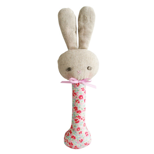 Rosie Bunny Stick Rattle, Sweet Floral