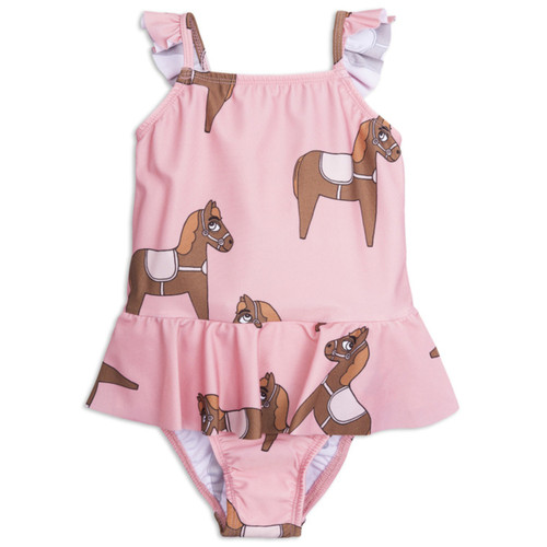 Mini Rodini Horse Skirt Swimsuit, Pink