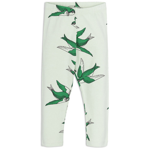 Mini Rodini Swallows Leggings, Green