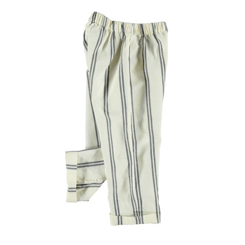 Trousers, Navy Stripe Ecru