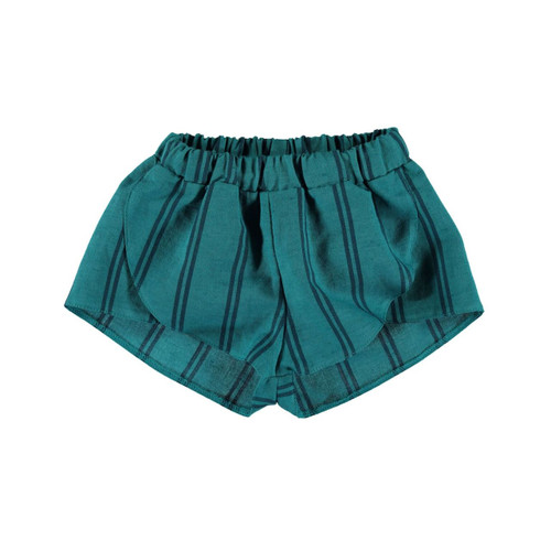 Linen Shorts, Emerald Stripes