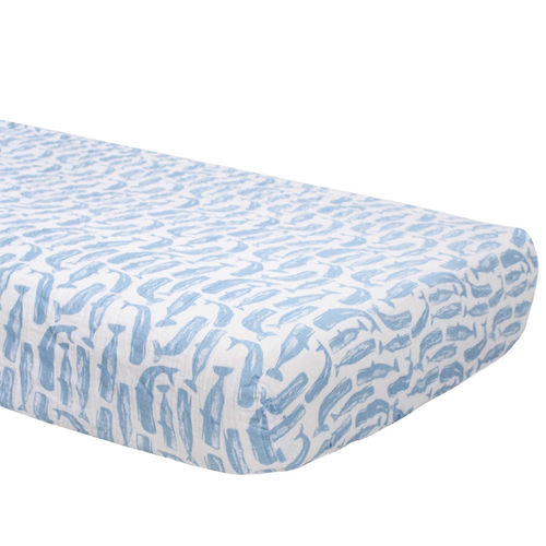 Muslin Crib Sheet, High Seas Whales