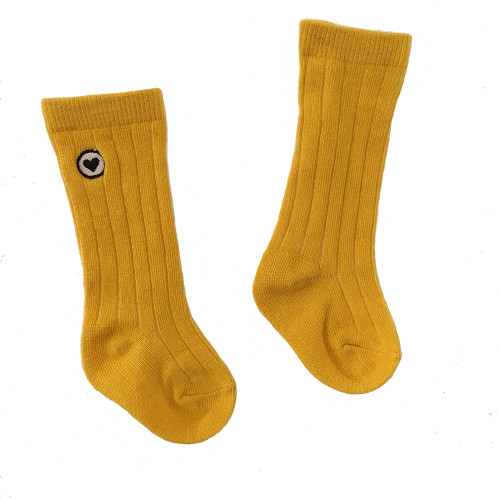 Organic Ribbed Knee Sock, Marigold