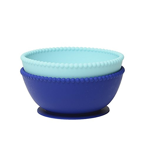 Chewbeads Silicone Bowls Set of Two, Turquoise/Cobalt