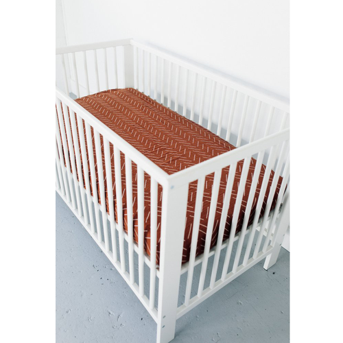 Muslin Crib Sheet, Rust Mudcloth