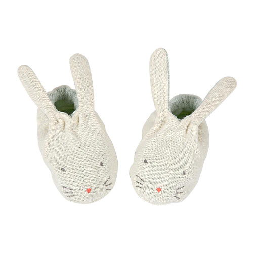 Bunny Baby Booties, Mint