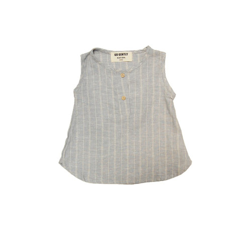 Stripe Placket Tank, Blue Hemp Stripe