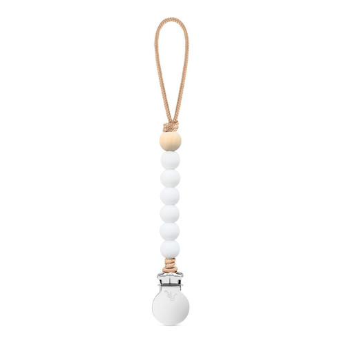 Charley Cutie Pacifier Clip, White