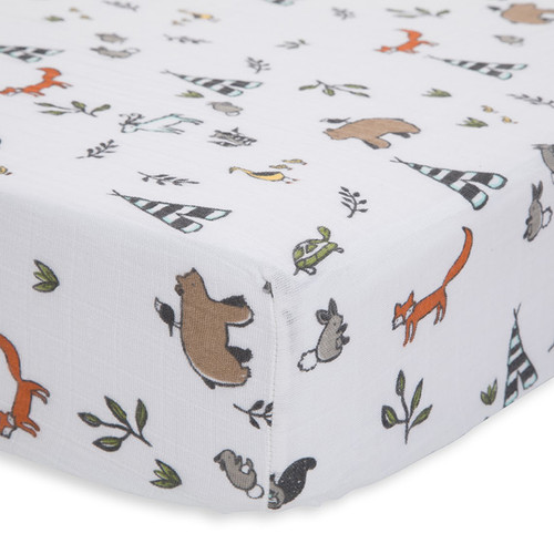 Cotton Muslin Fitted Crib Sheet, Forest Friends