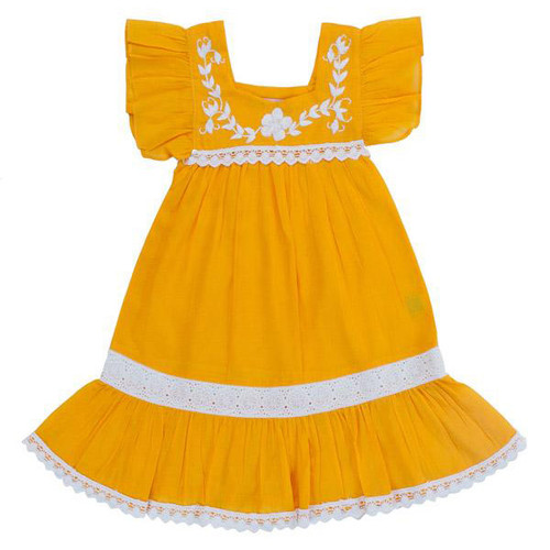 Iris Dress, Saffron with Hand Stitch