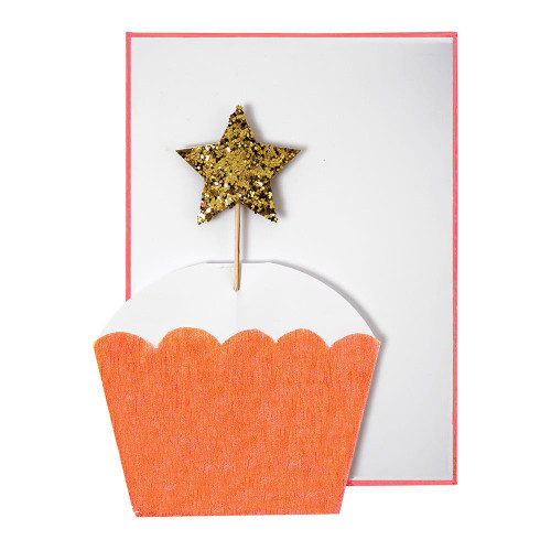 Cupcake with Gold Star Greeting Card