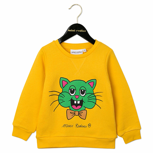Mini Rodini Cat Sweatshirt, Yellow