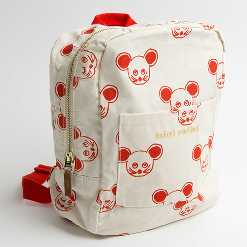 Mini Rodini Mouse Backpack, Cream/Red