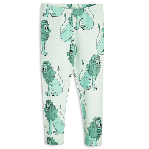 Mini Rodini Lion Leggings, Lt Green